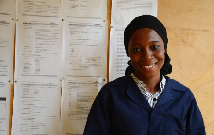 Kubura Sulemana works for USAID's indoor residual spraying project in northern Ghana. Picture by Erin Schiavone